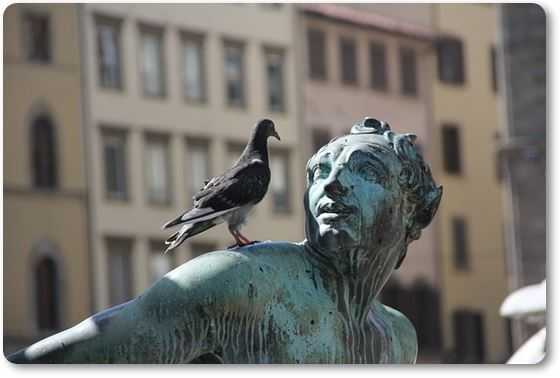 Estatua con palomas