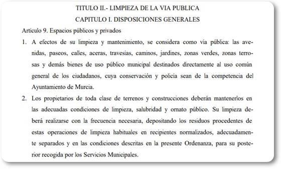 Ordenanza municipal de limpieza viaria de Murcia